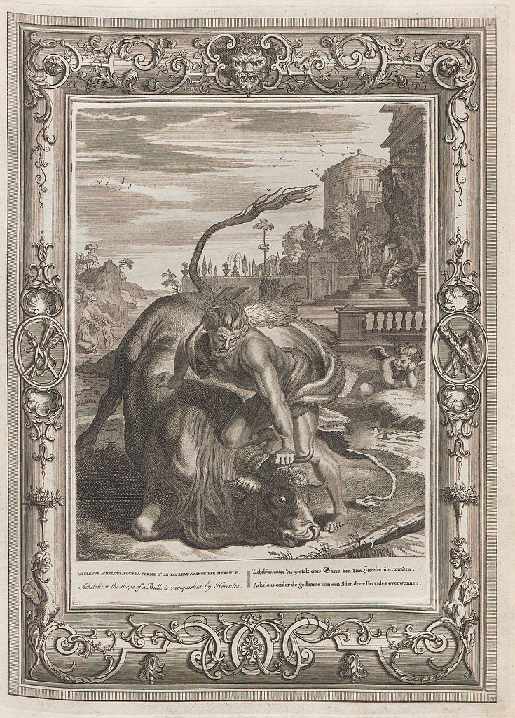 engraved mythological person holds bull's head to the ground