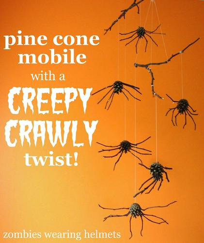 pine cone spider mobile with a creepy crawly twist!