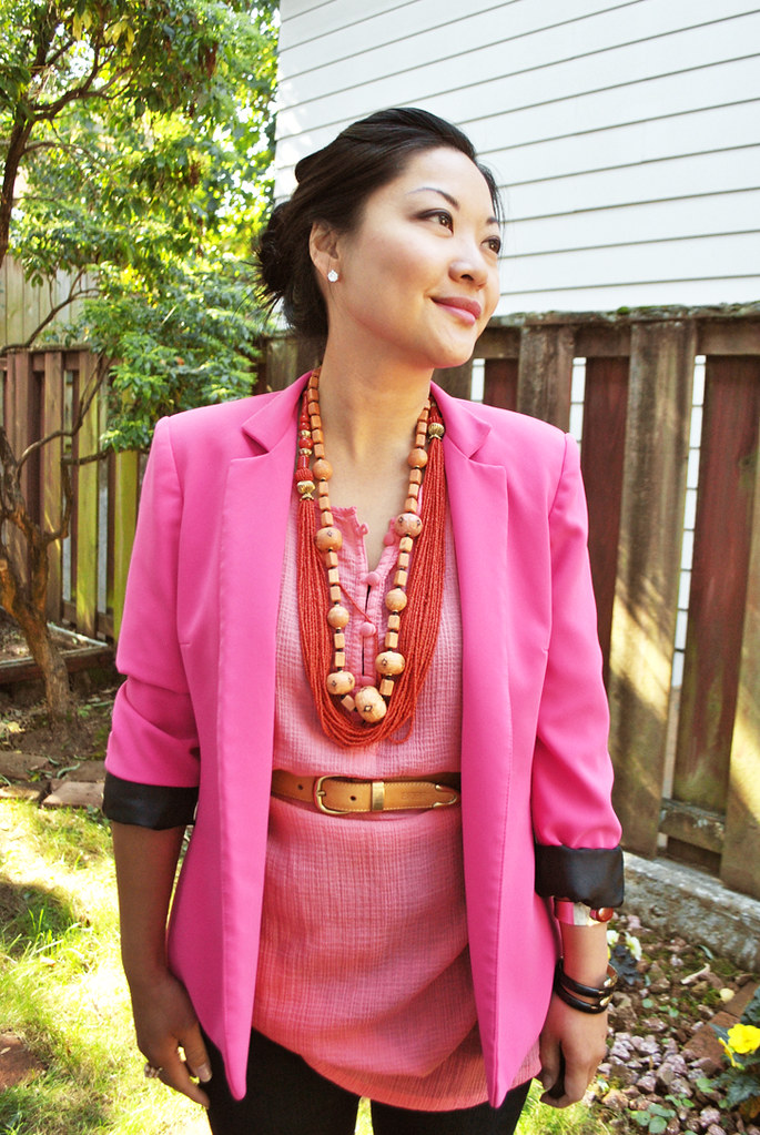 Outfit - Pink for Breast Cancer aWEARness - Pink Blazer - Coral Tunic - Black Skinny Jeans