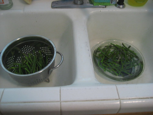 draining & cooling asparagus