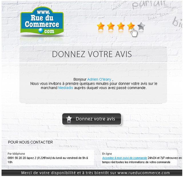 Courriel reçu envoyé par RueDuCommerce.fr