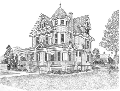 Old Victorian Houses Drawing Victorian house / aviston, il