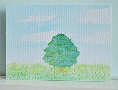 ATC Lone Tree (Windowfog) Tags: original tree art grass atc illustration clouds pencil watercolor landscape sketch big artist hand personal card aceo trading lone colored drawn simple trade