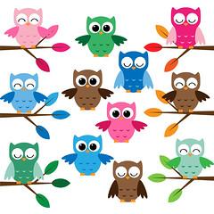 Cute owls clip art set (Yulia_M) Tags: baby illustration scrapbooking cards design drawing cartoon clipart kawaii owl download childrens etsy supplies greeting invitations printable сute digitalclipart
