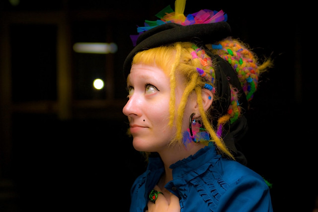 Rainbow Fake Dreads, Embellished Vintage Hat With Rainbow Tulle And Handmade Jewellery