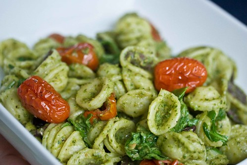 orecchiette, roasted tomatoes, olives, arugula-caper pesto