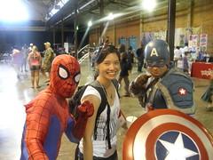 Spiderman, Ruth Ellison and Captain America