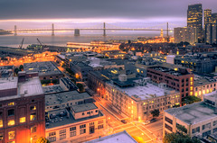 Telegraph Hill Impressions (Sebastian (sibbiblue)) Tags: sanfrancisco morning bridge usa skyline docks sunrise downtown piers financialdistrict coittower baybridge embarcadero telegraphhill nikkor hdr morningsky ferrybuidling photomatix bview nikond7000