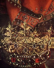 The Ghent Altarpiece (detail) (Ellis Art History) Tags: red detail gold panel fabric oil crown vaneyck ornate jewels janvaneyck flemish ghent detailed 15thcentury altarpiece saintbavocathedral northernrenaissance hubertvaneyck ellisarthistory
