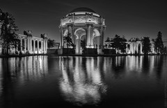 Palace of Fine Arts 2011_4 (C. Roy Yokingco) Tags: sanfrancisco california ca travel blackandwhite bw usa reflection water monochrome northerncalifornia night photography lights twilight nikon long exposure cityscape columns lagoon bayarea restored corinthian sfbayarea nikkor palaceoffinearts marinadistrict westcoast hdr photomatix tonemapped d700 afs28300mm nxtrfoto nextierphotography