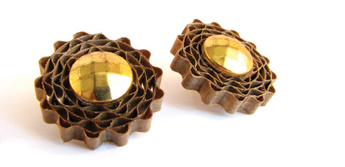 pair of corrugated cardboard stud earrings with gold centers