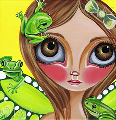 """Frog Fairy"" Painting (Jaz Higgins) Tags: original tree cute green eye art girl yellow fairytale work painting photo big artwork eyes doll pretty artist bright surrealism jasmine picture surreal australia totem pop frog pole canvas fairy faery surrealist eyed lime brunette fairies higgins froggy jaz faeries lowbrow froggies newbrow"