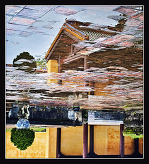 oriental reflections.. (PNike (Prashanth Naik..back after ages)) Tags: reflection building green water yellow architecture nikon asia upsidedown chinese vietnam oriental hue imperialcitadel d3000 pnike