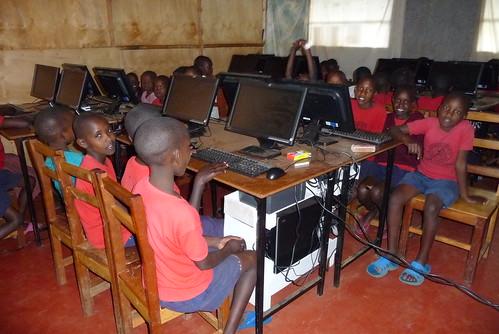 The girls waiting to start a new computer class