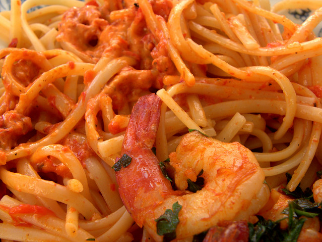 Garlic And Spanish Smoked Paprika Shrimp With Pasta In Roasted Pepper Sauce