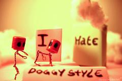 doggy style (GordanMes) Tags: camera pink light shadow red en blur art love glass rose yellow metal clouds canon painting de rouge photo al bottle wire funny die comic power wine lumière cigarette like fil style mini cigar humour coton story cap amour strip alcohol hate eggs histoire 5d vin doggy nuages chanel liege blanc minimalist cigare retard fer bonhomme minature appareil verre oeufs oeuf capone bouchon caracter bande parfum haine egges scène mise puissance dessinée papirer