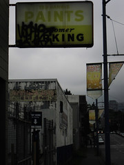 Paints: Composition with Yellows (Eldon Underhill) Tags: street city morning urban signs yellow vancouver paints cordovastreet july2011 unsummer eldonunderhill