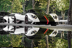 Zonda Cinque Roadster + Agera R (Tex Mex (alexandre-besancon.com)) Tags: street plaza red two white paris reflection water car night amazing duo r carbon rims alexandre supercar spotting matte cinque miror zonda koenigsegg roadster sighting pagani besanon athne agera