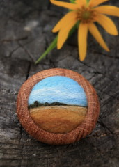 fields and plains (lilfishstudios) Tags: wood art nature field oak pin felting handmade ooak wheat brooch craft needlefelting plains fiber sustainable salvagedwood