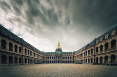 Htel des Invalides (Philipp Klinger Photography) Tags: trip travel windows light shadow vacation sky motion paris france travelling church weather les clouds facade point gold hotel golden vanishingpoint movement nikon frankreich cross angle cathedral main central wide perspective dramatic wideangle courtyard tourist symmetry des invalides crossprocessing processing napoleon bonaparte fx drama vanishing iledefrance ultra lesinvalides xprocessing forecourt dme htel hoteldesinvalides ultrawideangle dmedesinvalides napoleonbonaparte hteldesinvalides centralperspective d700