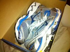 New shoes. Mizuno Wave Nirvana 7. Let's see how long these last me.