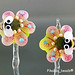 Earring : Pink Bee Flower Blossom