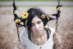 When Childhood Memories Intertwine (Rob Woodcox) Tags: park flowers colour girl beauty childhood hair eyes bokeh michigan memories surreal swing thoughts dreams stunning conceptual blackhair intertwine robwoodcox robwoodcoxphotography