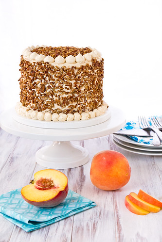 Peach Cake with Dulce de Leche Frosting
