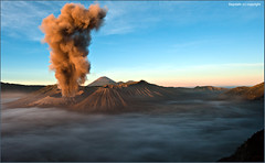 Mt Bromo erupts ! at Dawn (Ragstatic) Tags: blue sky orange colors clouds sunrise indonesia volcano nikon rags live smoke horizon textures ash spew surabaya bromo active aboveclouds mtbromo d700 ragstatic