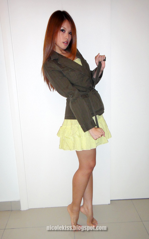 victoria secret yellow sundress & army jacket