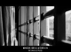 Window, Grill & Curtain (tamahaji) Tags: white black window monochrome curtain grill malaysia johor kluang