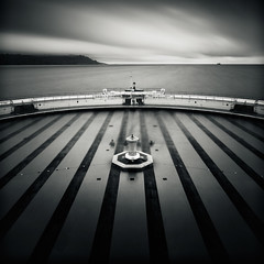 Welcome To Tinside Lido (Andy Brown (mrbuk1)) Tags: longexposure seascape water lines wall square blackwhite stripes horizon plymouth swimmingpool trail devon ghosts recreation railings pedestal splittone