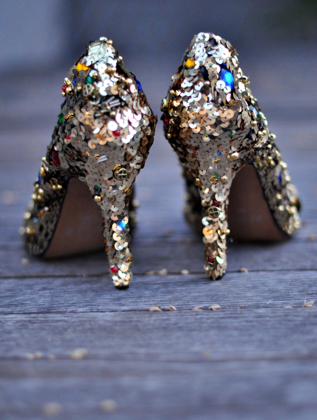 Embellished shoes diy + gold sequins and gem dolce and gabbana shoes diy pumps