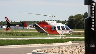 Life Flight from Fargo, N.D. and Angel Air Care from Bismark, N.D. started and ended the ceremony by flying over the hospital to land on the helipad.  The previous hospital did not have a helipad.