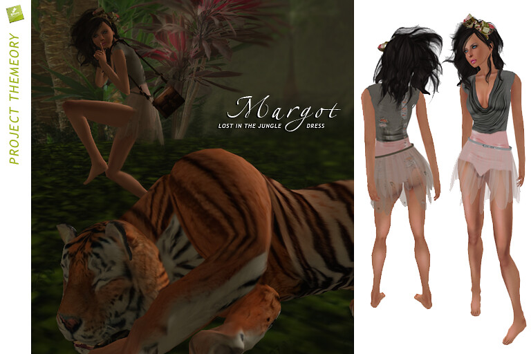 BOUNCE / MARGOT dress 'Lost in the jungle' - melon