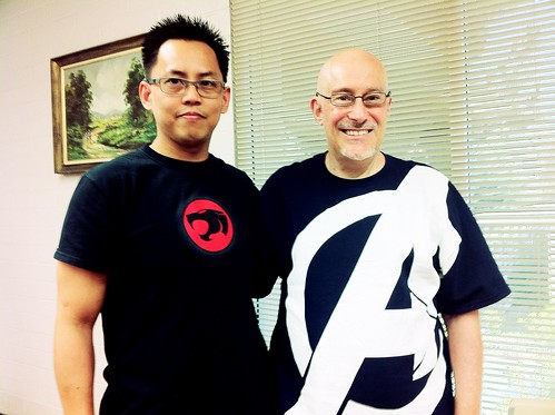 Shinzen Young wearing his Avengers shirt with some dorky guy in a Thundercats shirt