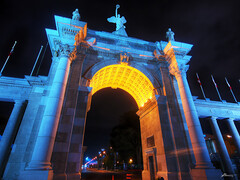 princes' gates (paul bica) Tags: park lighting lake toronto ontario paul outdoors evening site gate boulevard place gates shoreline entrance canadian exhibition structure historic cne national lakeshore princes pillars blvd dex coronation 20110727bmo157