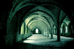 Fountains Abbey (jillyspoon) Tags: abbey stone architecture canon buildings dark pattern moody arch order yorkshire sigma wideangle arches monastery monks fountains fountainsabbey 1020mm cloisters northyorkshire 60d flickrduel canon60d