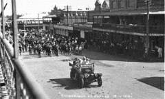 """Parade of """"Boomerangs"""" [recruitment marches, 1915-1916] up Clarinda Street on way to Sydney - Parkes, NSW, 18 January 1916 by CA Watson (State Library of New South Wales collection) Tags: statelibraryofnewsouthwales"""