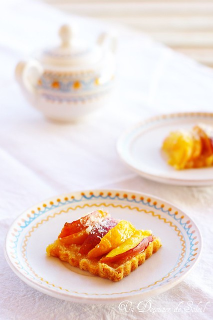 Coconut and peach tart