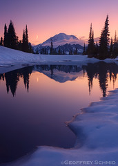 Twilight, Tipsoo (GeoffSchmid) Tags: sunset moon snow reflections crescent mountrainier sliver melt alpenglow chinookpass tipsoo photocontesttnc11