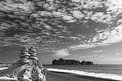 Rialto Beach Stones (Byron O'Neal) Tags: blackandwhite beach washington nationalpark sand unitedstates shoreline olympicpeninsula driftwood shore olympicnationalpark rialto rialtobeach stackedstones