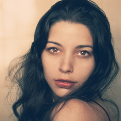 I'm falling in love with you (AnnuskA  - AnnA Theodora) Tags: portrait painterly up vintage hair eyes close lips brunette