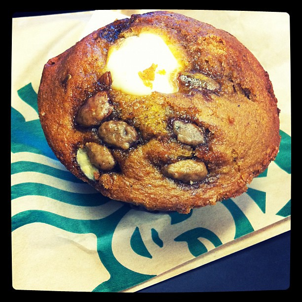 Pumpkin cream cheese. Muffin from @starbucksca ! I splurged & bought one even tho they are calorie-rific!