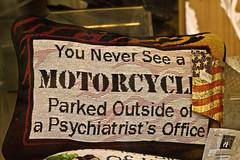 The profundity of life (Thad Zajdowicz) Tags: canon humor estespark colorado pillow shop window motorcycle psychiatrist office text writing letters zajdowicz words aphorism quote