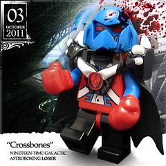 "October 03 - ""Crossbones"" (Morgan190) Tags: blue red halloween skull scary blood october advent fighter calendar lego alien creepy gloves hazel boxer bone minifig minifigs boxing fighting custom crossbones firestar m19 minifigure 2011 beatemup morgan19 morgan190 amazingarmory"
