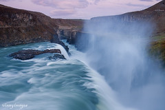 Gullfoss (Golden Falls) (Vinnyimages) Tags: morning travel mist cold color sunrise waterfall iceland bluewater spray steam gullfoss goldenfalls hvitariver southwesticeland popularattraction vinnyimages wwwvinnyimagescom icelandtravels