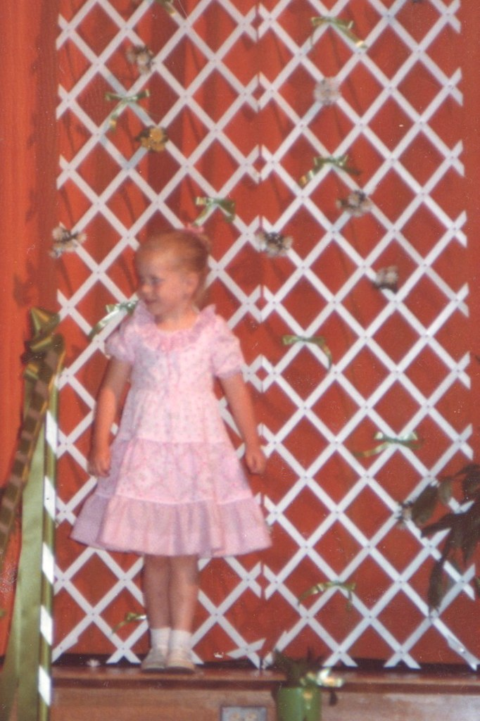 me in a dress my mom made me.