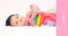 Rainbow Baby (Rawan Mohammad ..) Tags: old pink boy portrait baby 3 cute art girl wearing rain kids children photography kid rainbow nikon artist photographer child little photos mohammed photograph bow newborn custom weeks ever cutest mohammad tutu pinkish rn the   savana 2011  rawan            d300s rnona    stunningphotogpin