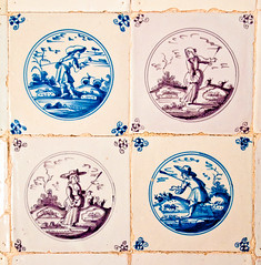 Examples of the Delft tiles lining the walls of the Dairy In Dyrham Park mansion, Gloucestershire (Anguskirk) Tags: uk england architecture nt interior 17thcentury eu gloucestershire historic mansion c17 dairy baroque statelyhome nationaltrust coloured glazed countryhouse dyrhampark delfttiles